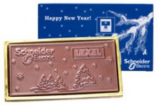 Schneider Electric 100g embossed chocolate bar in a gift box