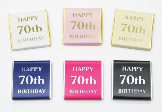"Foil Printed ""Happy 70th Birthday"" chocolate Neapolitans"