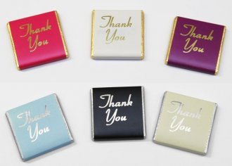"Foil Printed ""Thank you"" 5g chocolate Neapolitans"