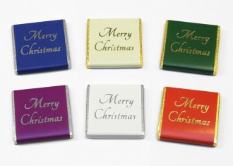 "Foil printed 5g ""Merry Christmas"" Chocolate Neapolitans, D3"
