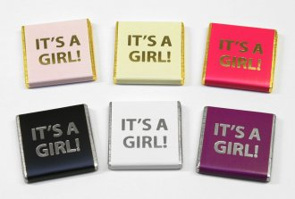 "Foil Printed ""It's a Girl"" 5g chocolate favours, Baby Shower"