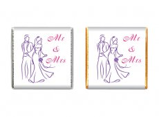 Mr & Mrs, Groom and Bride chocolate wedding favours