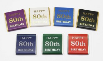 "Foil Printed ""Happy 80th Birthday"" chocolate Neapolitans"