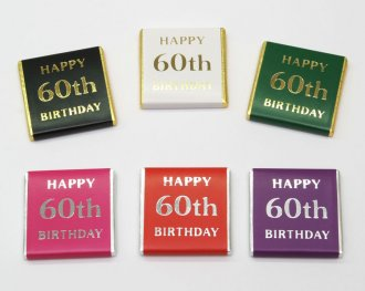 "Foil Printed ""Happy 60th Birthday"" chocolate Neapolitans"