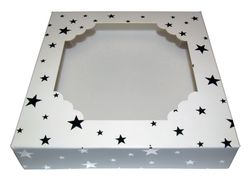 White Window Gift Box With Silver Stars
