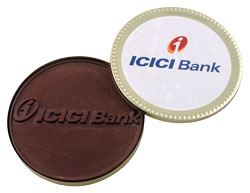 ICICI Personalised embossed chocolate medallion